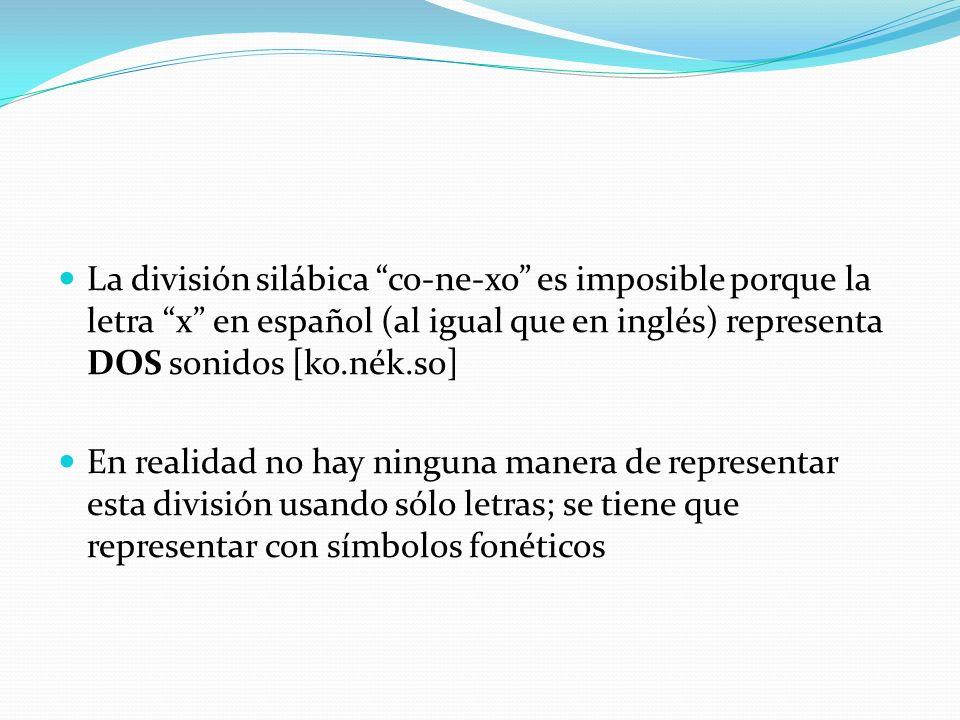 La división silábica co-ne-xo es imposible porque la letra x en español (al igual que en inglés) representa DOS sonidos [ko.nék.so]